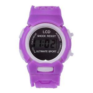 LED Digital Outdoor Outdoor Sportuhr Quarz Armbanduhr für Kinder Studenten Lila Karikatur Solide 1,77 × 0,71 Zoll