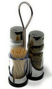 Menage Salz und Pfeffer Streuer Set Zahnstocher 230 Salzstreuer Pfeffestreuer Klein Edelstahl Glas