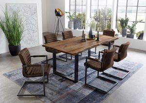 Baumkanten Tischgruppe Akazie natur 140 x 80 schwarz 7tlg. NOAH (Auswahl: 6 Stühle Stoff Wildleder)