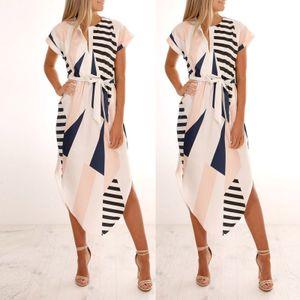 Mode Damen Lose Casual Kurzarm V-Ausschnitt Gedruckt Mit Gürtel Kleid Größe:XXL,Farbe:Weiß