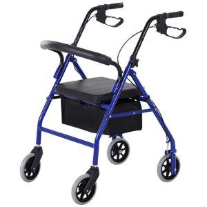 HOMCOM Rollator mit Stuhl und Tasche schwarz, blau 75 x 56 x 83-93 cm | Gehhilfen Reiserollstuhl Reiserollator Gehilfe Gehwagen