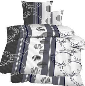 4-tlg. Seersucker Bettwäsche 2x (135x200 +80x80cm), grau weiß Kreise, bügelfrei, Microfaser