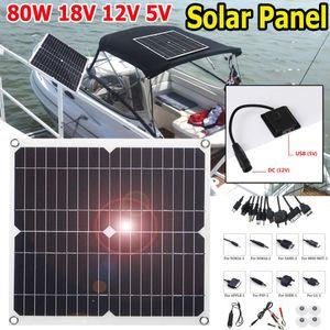 USB 80W Flexibel Solarpanel Solarmodul Ladegerät Solarzelle Sonnenkollektor für Auto Fahrzeug Boot RV Handy Camping Wohnwagen