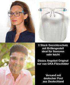 GKA 3 Stück Visier Schutzbrille Gesichtsschutz mit Brillengestell Brille sehr leicht ideal für Senioren und Brillenträger