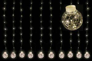 Lex Light LED Lichtervorhang 10 Kugeln 200 Micro LEDs warmweiß Draht silber 270x90cm
