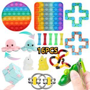 16 Stück / Set Push Bubble Fidget Antistress Toys Erwachsene Kinder Pop Fidget Sensory Toy, zum Stressabbau Anti-Angst Dekompressionsspielzeug