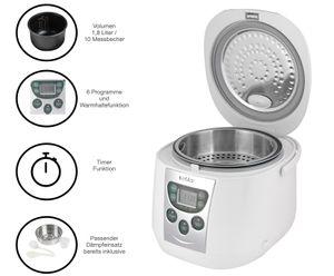 KeMar Kitchenware KRC-140 Digitaler Reiskocher   Multikocher    Dampfgarer mit Warmhaltefunktion   6 Programme   Timer   Innentopf mit Titan-Keramik Antihaftbeschichtung   BPA-frei