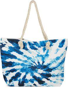 styleBREAKER Damen XXL Strandtasche mit Batik Wirbel Muster Print, Reißverschluss, Schultertasche, Shopper 02012344, Farbe:Weiß-Blau