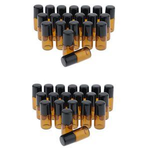 40 Stück Bernstein, Roll-on-Flaschen Glas mit Edelstahl-Roller Kugeln, für ätherische Öle, Kunststoff Pipetten Flasche