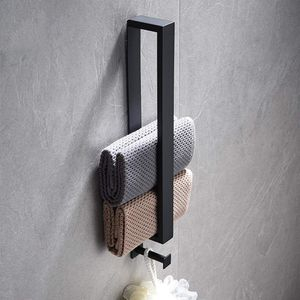 Handtuchhalter Ohne Bohren mit Haken Schwarz 40CM Edelstahl Gästehandtuchhalter Bad Handtuchstange Selbstklebend für Badezimmer Küche