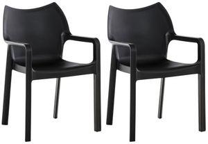 CLP 2er SET Stapelstuhl DIVA Kunststoff-Gartenstuhl mit Armlehnen, Farbe:schwarz