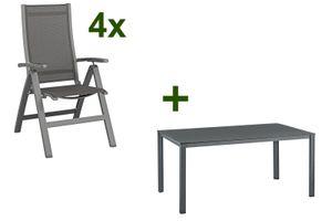 Kettler Esstischgruppe, anthrazit/anthrazit, Kettalux-Plus Dining-Tisch 160x95cm, 4 Multipositionssessel Altura