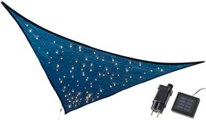 Sonnensegel mit LED Beleuchtung, rechteckig, 3,25 x 3,25 x 3m, 110er warm-weiße Solar bzw. Netzstecker Lichterkette, wetterfester Sonnenschutz