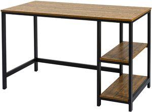 Meerveil Retro Computertisch aus Metall und Holz, Arbeitstisch, Laptoptisch, Schreibtisch mit zweistufige Regal