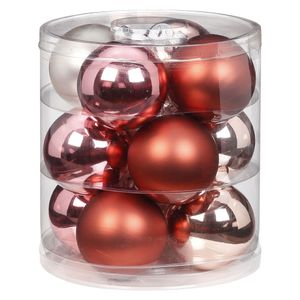 Weihnachtskugeln Glas 8cm, 12 Stück, Farbe:Avenue of Romance ( rosa magnolie )