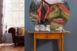 """Komar Vlies Fototapete rund und selbstklebend """"Tsintaosaurus"""" - Größe: 128 x 128 cm (Breite x Höhe) - 1 Stück"""