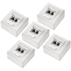 deleyCON 5x CAT 6a Universal Netzwerkdose - 2x RJ45 Port - Geschirmt - Aufputz oder Unterputz - 10 Gigabit Ethernet Netzwerk - EIA/TIA 568A&B - Weiß