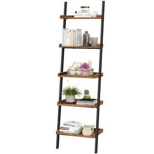 VASAGLE Bücherregal, Leiterregal im Industrie-Design mit 5 Ebenen, aus Stahlgestell und Spanplatten, vintagebraun-schwarz LLS047B01
