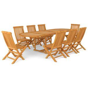9-teiliges Outdoor-Essgarnitur Garten-Essgruppe Sitzgruppe Tisch + stuhl Teak Massivholz
