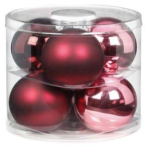 Weihnachtskugeln Glas 10cm, 6 Stück, Farbe:Berry Kiss ( Beere glanz / matt )