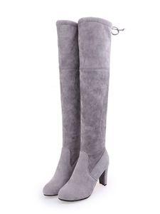 Abtel Damen Overknee Stiefel Blocky High Heels Bequeme Hübsche Schuhe Für Mädchen,Farbe:Grau,Größe:39