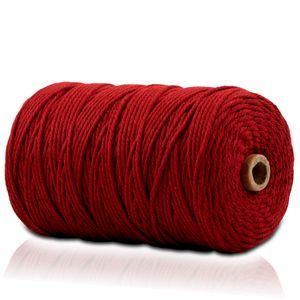 Makramee Garn - 200m (Stärke: 3mm) - Gezwirntes Baumwolle Garn - Hochwertiges, supersoftes Luxus Garn - rot / red