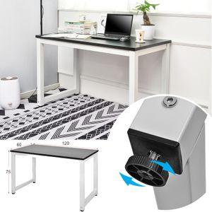 Schreibtisch Schwarz-Weiß Arbeitstisch Bürotisch PC Tisch  - 120(L) x 60(D) x 75(H) Computer PC Schreibtisch Winkelschreibtisch