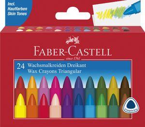 FABER-CASTELL Dreikant-Wachsmalkreide 24er Kartonetui
