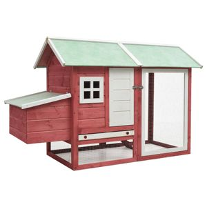 Hühnerkäfig Rot 170×81×110 cm Massivholz Kiefer & Tanne
