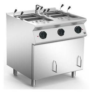 Nudelkocher 80cm elektrisch, 2 Pfannen Version 2x2/3 Gastronorm, 230V-3N 50-60Hz