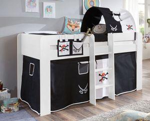 Hochbett ANDI 2 Kinderbett Spielbett halbhohes Bett Weiß Stoffset Pirat, Matratze:mit