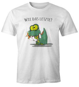 """Herren T-Shirt Fun Motiv kleiner Dino frisst Einhorn Spruch """"Wie das Letzte?"""" Fun-Shirt lustig Moonworks® weiß 3XL"""