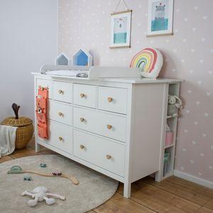 Puckdaddy Stauraumregal Lasse 19x30x93 cm in Weiß passend zu IKEA Hemnes Kommode Kinderzimmer