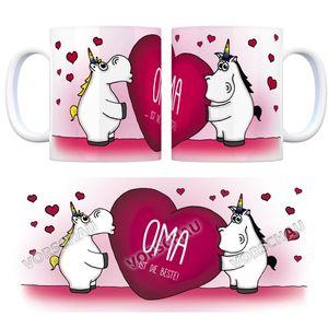 Einhorn Kaffeebecher mit Herz Motiv und Spruch: Oma ...