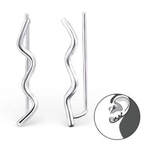 Ohrstecker Silber: Ear Cuff Ohrklemmen Welle