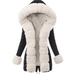 Frauen Winter Langarm Einfarbig Hooded Baumwolle Padded Coat Oberbekleidung Größe:L,Farbe:Schwarz