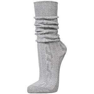 PAULGOS Unisex Trachtensocken Trachtenstrümpfe Socken Kniestrümpfe mit Zopfmuster in 3 Farben Gr. 39-47, Farbe:Grau, Größe:43
