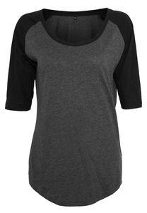 Ladies 3/4 Contrast Raglan Damen T-Shirt - Farbe: Charcoal (Heather)/Black - Größe: 5XL