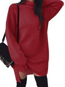 Damen locker elastischen High Neck Split Kleid Pullover Kleid Strickrock,Farbe: Claret,Größe:XXL