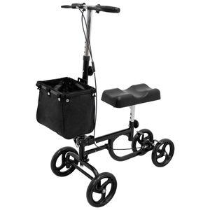 ECD Germany Lenkbarer Knie Scooter mit Breösen und Korb - höhenverstellbar - faltbar - Krückenalternative - Knie Walker Knie-Rollator Knie-Roller Knie Gehhilfe Medical Roller Rollator