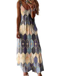 Frauen Geometrischer Druck Ärmellose Maxi Long Dress Party Plus Size,Farbe: Gelb,Größe:3XL