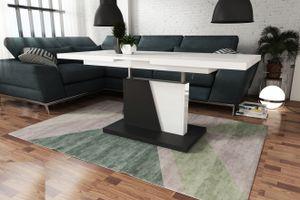 Design Couchtisch Tisch Grand Noir Weiß Hochglanz / Schwarz matt stufenlos höhenverstellbar ausziehbar 120 bis 180cm Esstisch