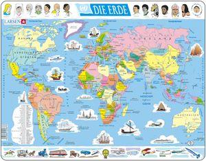 Larsen Puzzle Die Erde (politische Weltkarte) 107-tlg.