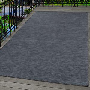 Outdoor Indoor Teppich, Terassenteppich Sisal Optik, Flachgewebe, SCHWARZ, Maße:200 cm x 290 cm