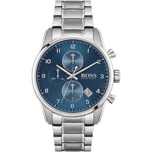 Hugo Boss Herren Chronograph Skymaster Armbanduhr 1513784 - Edelstahl/Silber/Blau