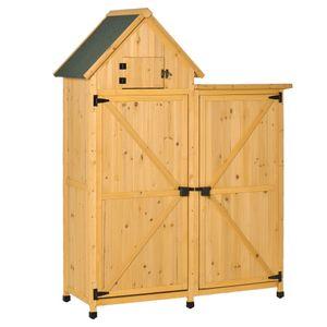 Outsunny Gartenhaus Gerätehaus Gartenschuppen Doppeltür-Design Holz für den außenbereich wetterfest 138 x 54,5 x 175 cm Gelb