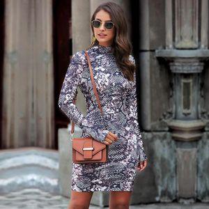Mode Frauen Fruehling Print Kleid Leopardenmuster Schlangenhaut Print Stand Kragen Langarm Bodycon Nightclub Party Minikleid【lila-XL】