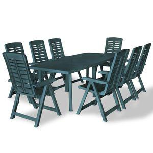 Hochwertigen Garten Sitzgruppe Gartengarnitur - 9-teiliges Outdoor-Essgarnitur Garten-Essgruppe Sitzgruppe Tisch + stuhl Kunststoff Grün☆8611