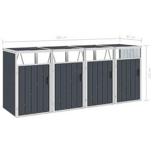 yocmall Mülltonnenbox für 4 Mülltonnen Anthrazit 286×81×121 cm Stahl