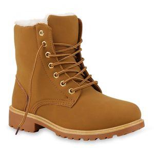 Mytrendshoe Warm Gefütterte Worker Boots Damen Outdoor Stiefeletten Robust 814346, Farbe: Hellbraun, Größe: 39